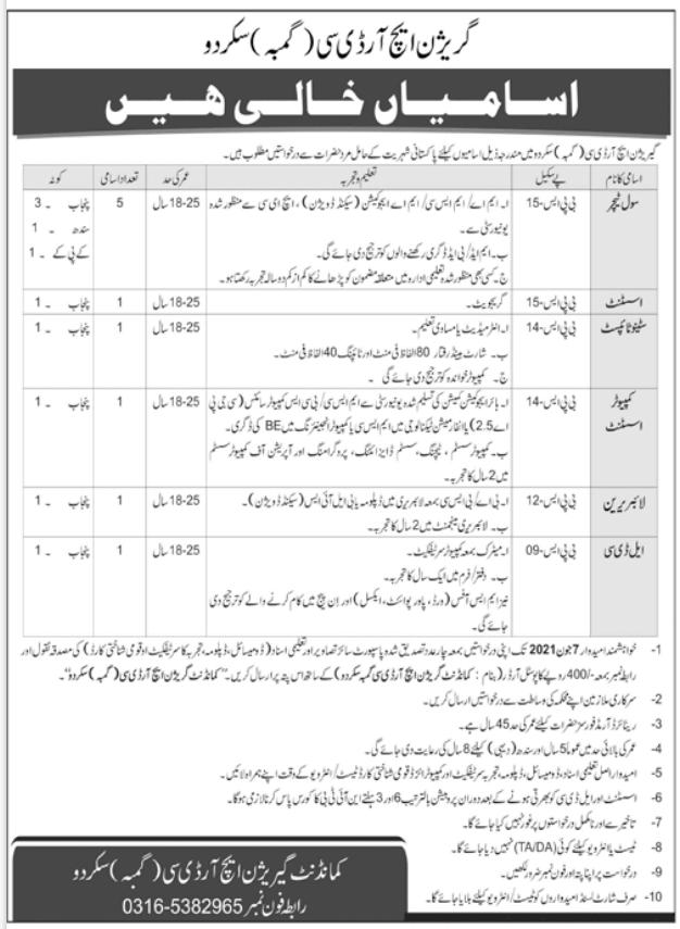 Pak Army Skardu Garrison HRDC Jobs 2021