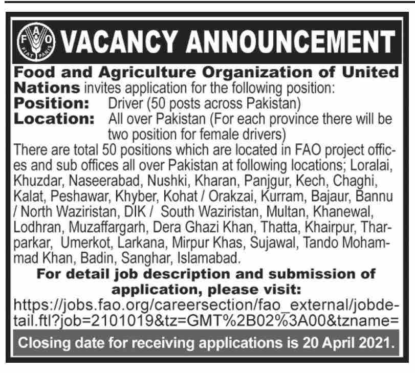 United Nations Food and Agriculture Organization Driver Jobs 2021