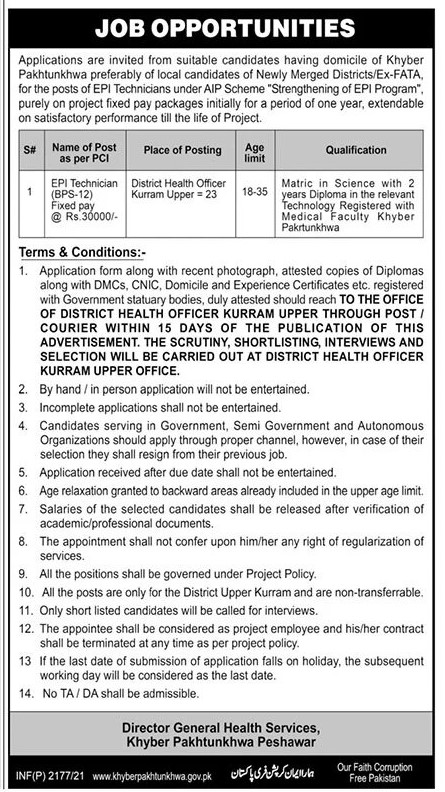 KPK Health Department Jobs May 2021