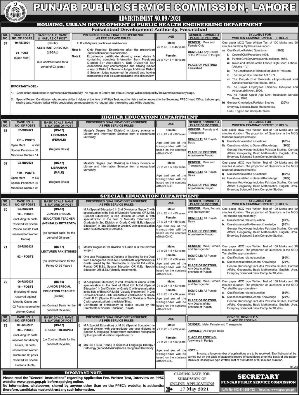 Punjab Public Service Commission (PPSC) Jobs May 2021 (508 Posts)