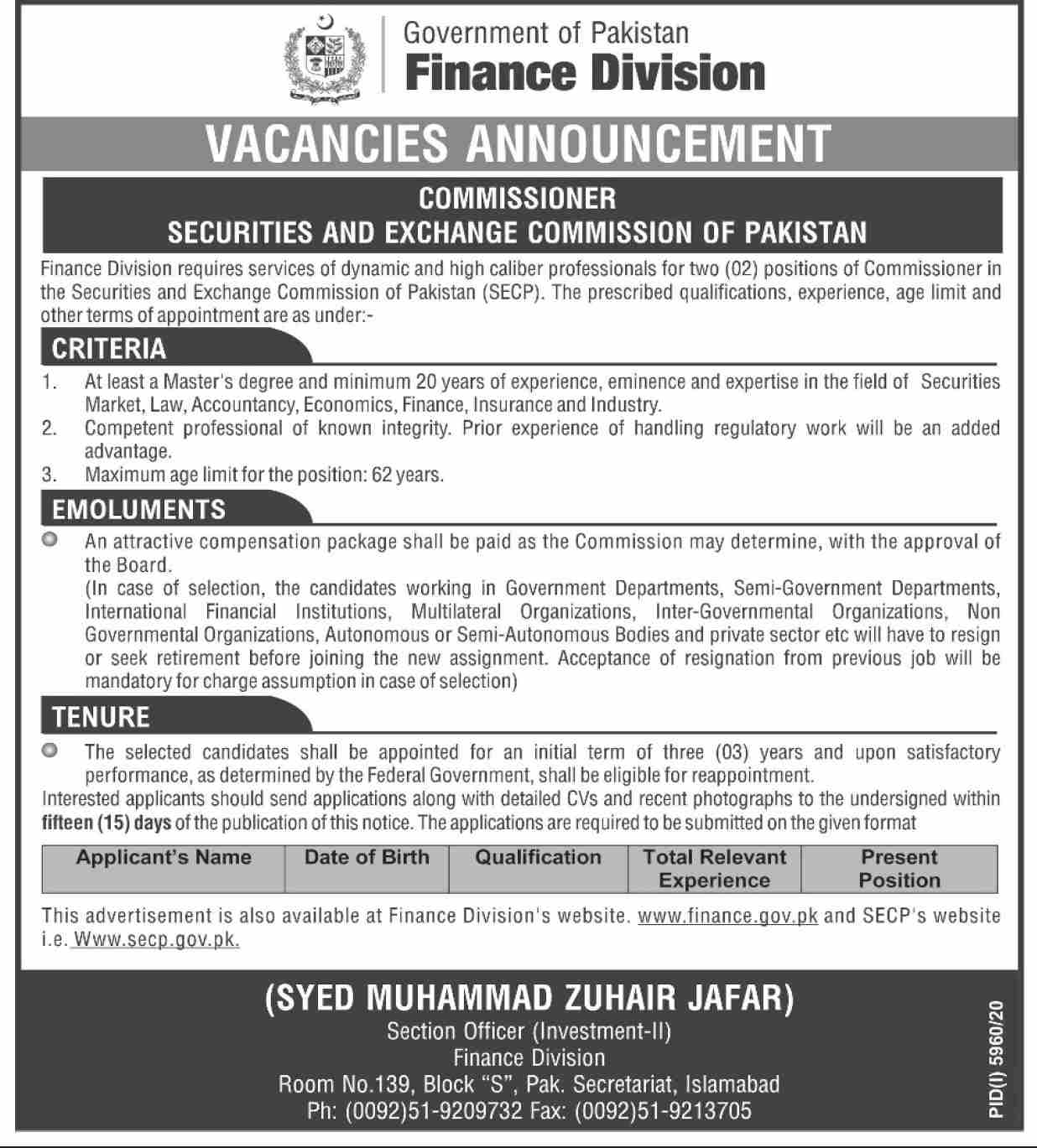 Finance Division Government of Pakistan Jobs May 2021
