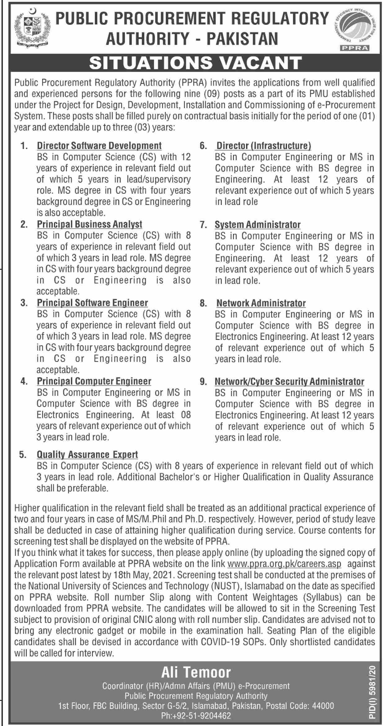 Public Procurement Regulatory Authority (PPRA) Jobs May 2021