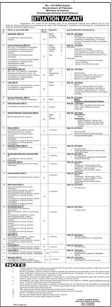 Ministry Of Interior Directorate General Civil Defence Jobs May 2021