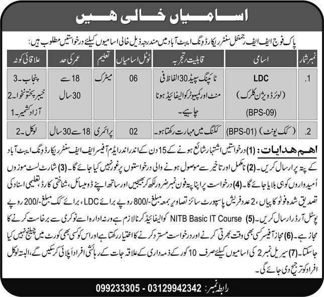 Pak Army FF Regimental Center Record Wing Jobs June 2021