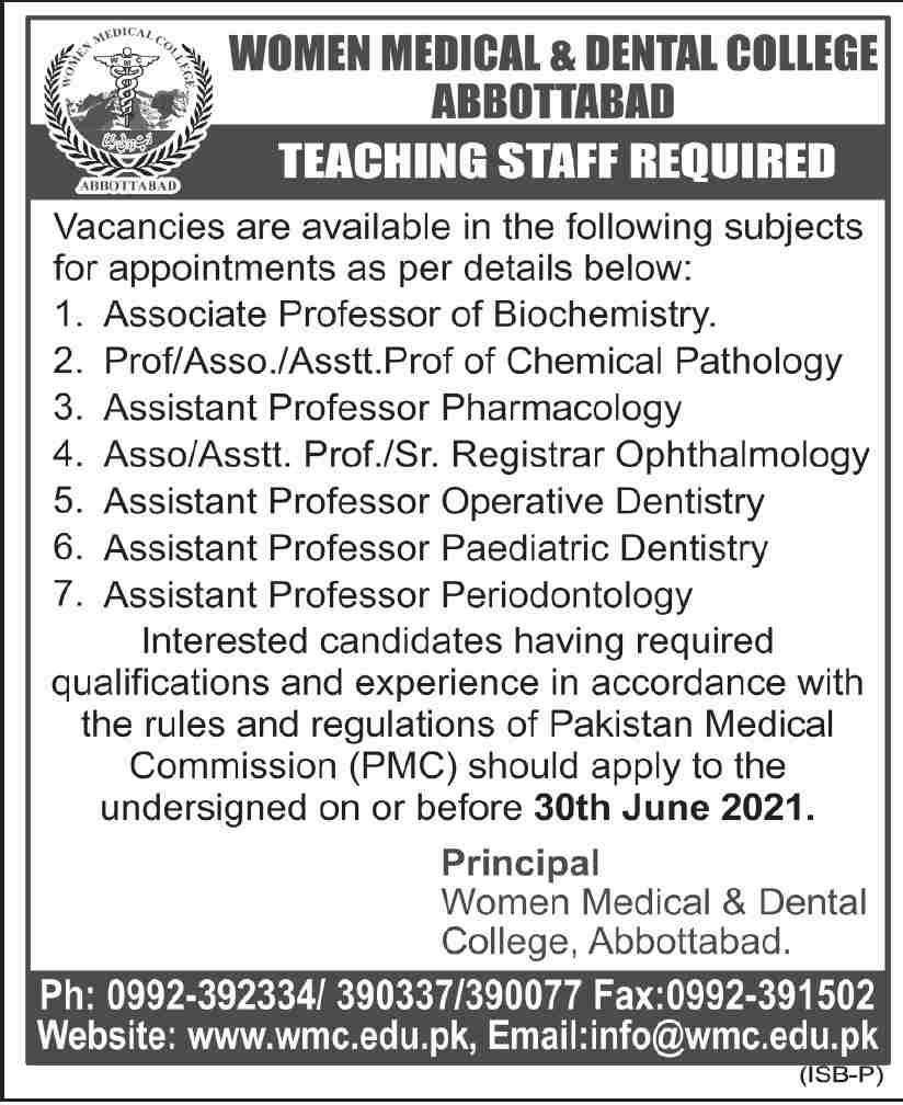 Women Medical & Dental College Abbottabad Jobs June 2021