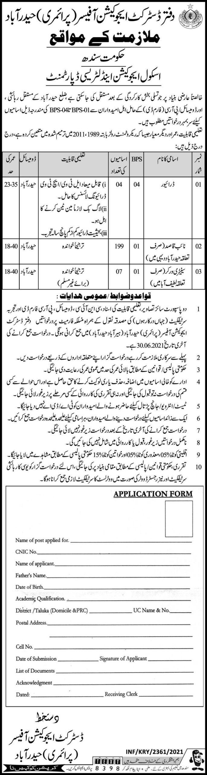 Sindh School Education & Literacy Department Jobs June 2021