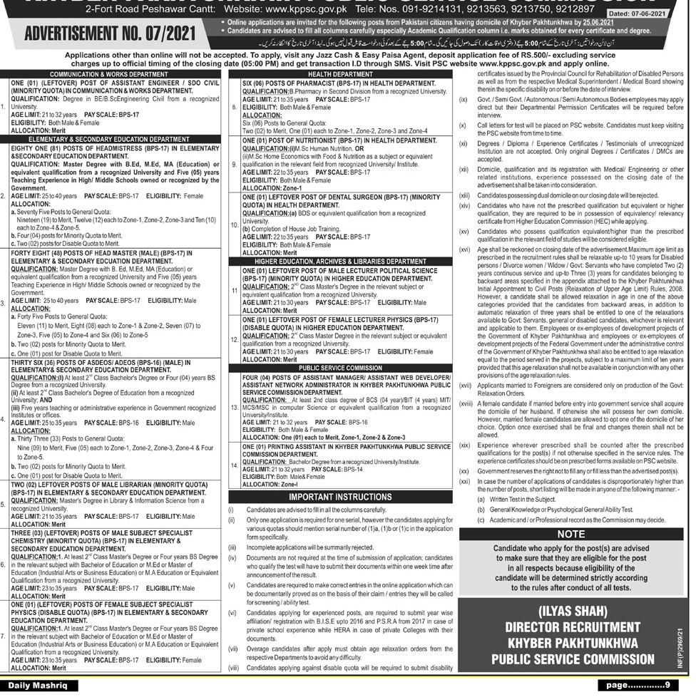 KPPSC Jobs June 2021