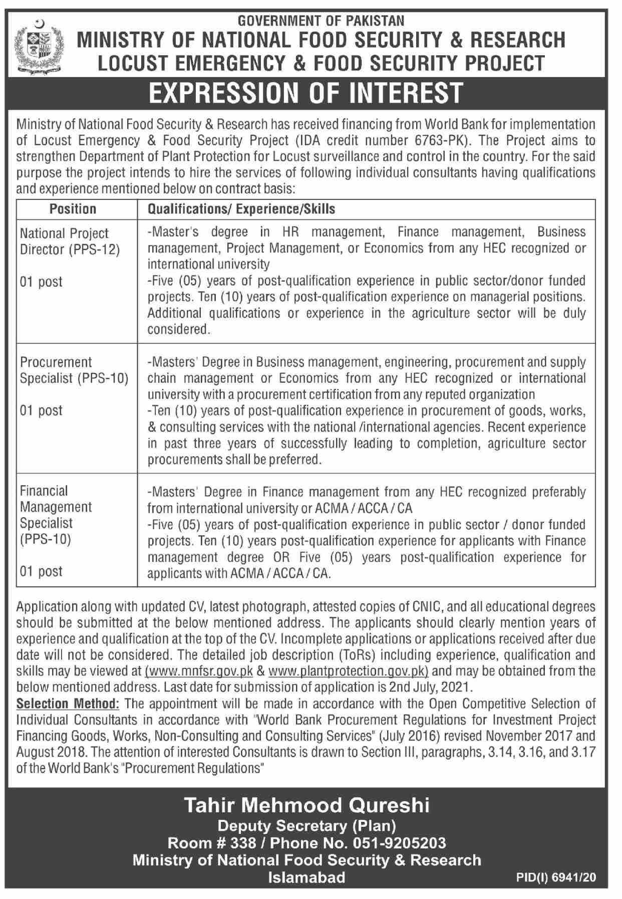 Ministry of National Food Security & Research Jobs June 2021