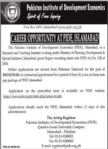 PIDE Jobs June 2021