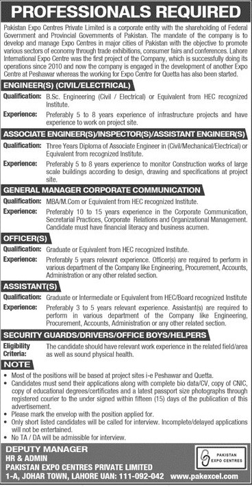 Pakistan Expo Centers Private Limited Jobs June 2021