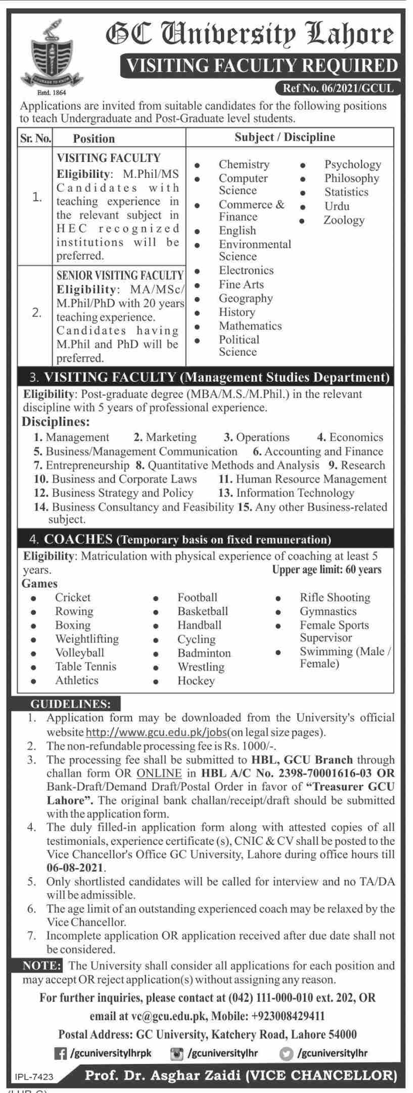 Government College University GCU Lahore Visiting Faculty Jobs 2021