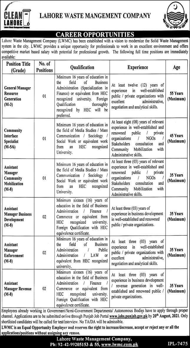 Lahore Waste Management Company Jobs 2021