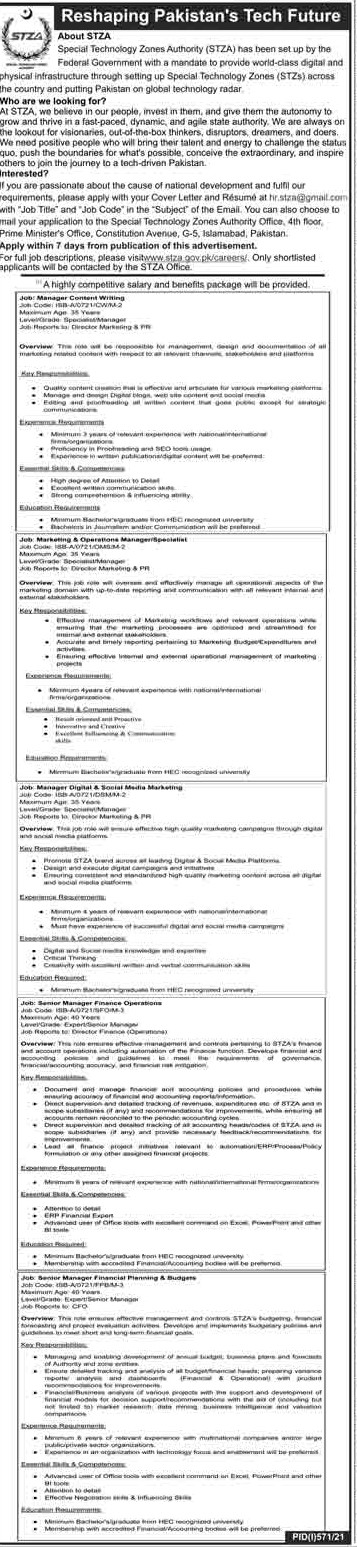 STZA Special Technology Zones Authority Islamabad Jobs 2021