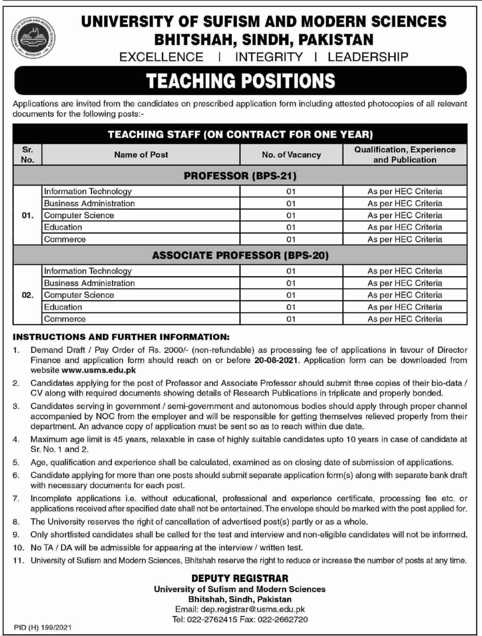 University of Sufism and Modern Sciences USMS Jobs 2021