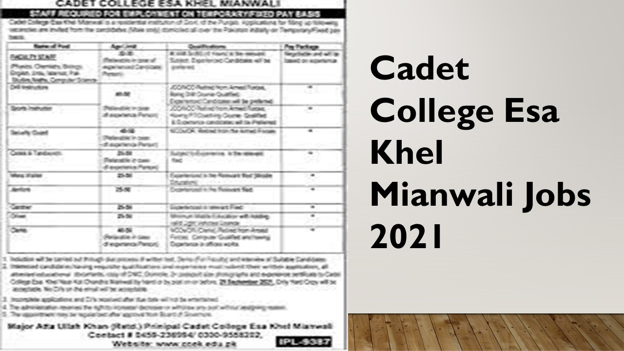 Cadet College Esa Khel Mianwali Jobs 2021