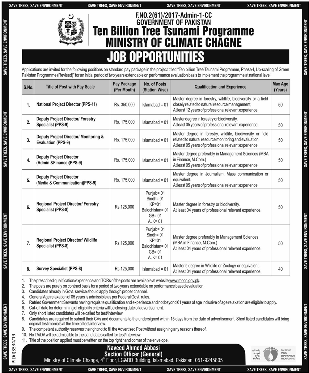 Ministry of Climate Change MOCC Jobs 2021
