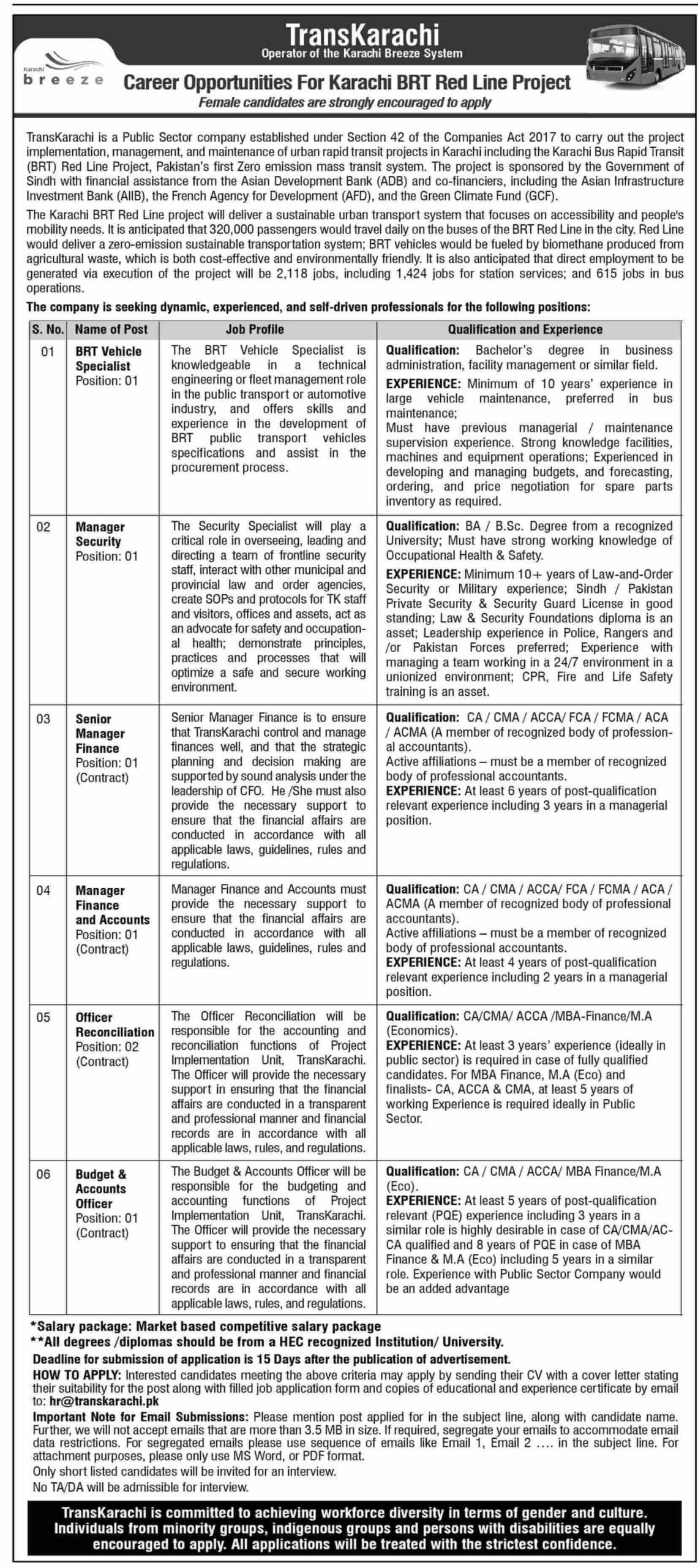 BRT Red Line Project Karachi Jobs 2021