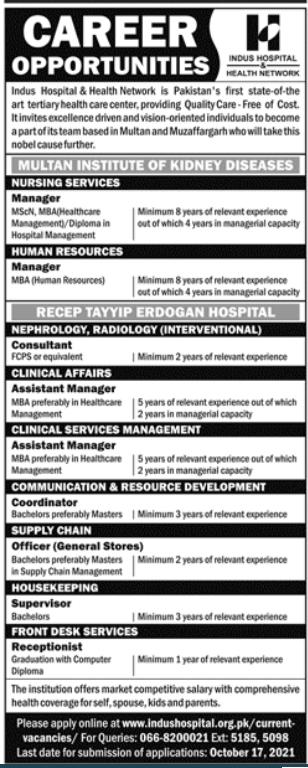 Indus Hospital and Health Network Karachi Jobs 2021