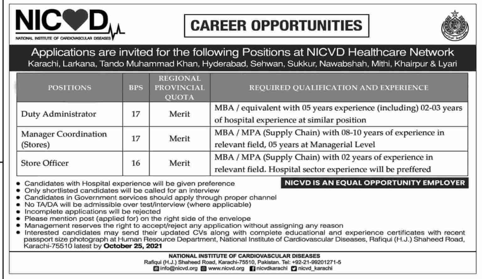 NICVD Jobs 2021